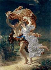 Краса и творчество | Бегущие от грозы (по картине Пьера Огюста Кота). Размер - 25,3 х 34,1 см