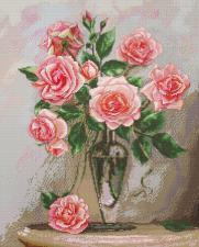 Розы на мраморном столике. Размер - 28,6 х 35,6 см.