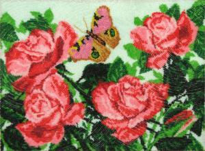 Butterfly | Бабочка и розы. Размер - 36 х 27 см.