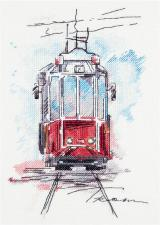 Городской трамвай. Размер - 17 х 25 см.