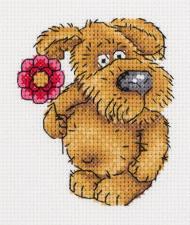 """Набор для вышивания Кларт """"Пёсик с цветочком"""". Размер - 10 х 11 см."""