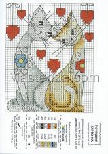 """Открытка-схема """"Кот и кошка""""."""