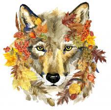Осенний волк. Размер - 23 х 24 см.