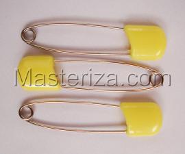 Булавки детские,цвет жёлтый,длина 57-58 мм,уп.3 шт
