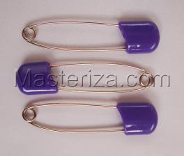 Булавки детские,цвет фиолетовый,длина 57-58 мм,уп.3 шт