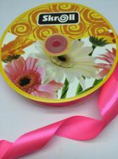 Лента атласная Skroll,25 мм,цвет№ 05 (неоновый розовый)