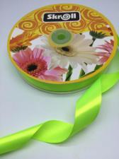 Лента атласная Skroll,25 мм,цвет№ 57 (неоновый зелёный)