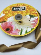 Лента атласная Skroll,25 мм,цвет№ 162 (серо-коричневый)