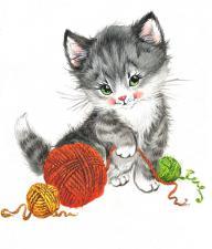 Матрёнин Посад | Игривый котёнок. Размер - 16 х 16 см