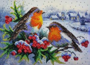 Картины бисером | Зимняя песня. Размер - 30 х 21,5 см.