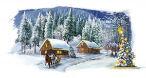 Рождественская сказка. Размер - 40 х 26 см.
