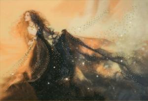 Чаривна мить | Картина стразами Девушка Луна. Размер - 42 х 30,3 см