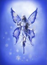 Чаривна мить | Картина стразами Зимняя фея. Размер - 30,3 х 42 см