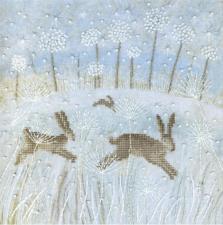 Чаривна Мить | Зимние зайцы. Размер - 20 х 20 см.