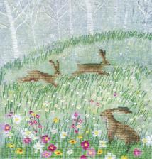 Чаривна Мить | Летние зайцы. Размер - 20 х 20 см.