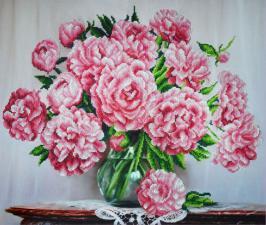 Картины бисером | Букет розовых пионов. Размер - 49 х 41 см.