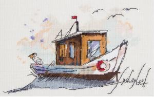 Рыбацкая лодка. Размер - 25 х 18 см.