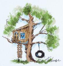 Домик на дереве. Размер - 20 х 22,5 см.