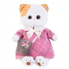 Кошечка Ли-Ли в розовом платье с серой сумочкой.