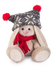 Зайка Ми в чёрной шапке с помпонами и красном шарфике (Малыш). Размер - 15 см