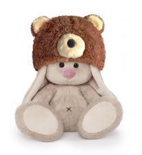 Зайка Ми в шапке медвежонка (Малыш). Размер - 15 см