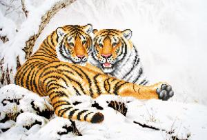 Тигры зимой. Размер - 39 х 27 см.