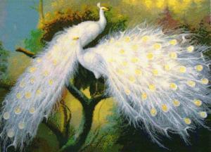 """Набор для вышивания крестом """"Белые павлины"""""""