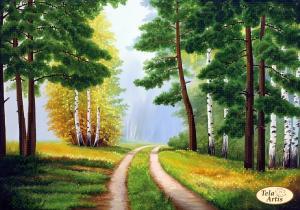 Лесными дорогами. Размер - 34 х 24 см.
