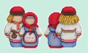"""Набор для вышивания на пластиковой канве """"Оберег. Крупеничка и Богач""""."""