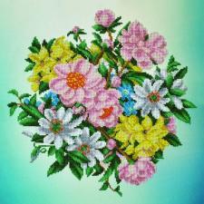 Картины бисером | Садовые цветы. Размер - 34 х 34 см.