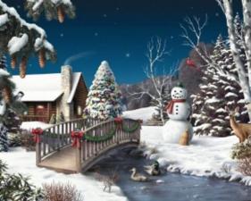 """Картина стразами (набор) """"Новый год в деревне"""". Размер - 50 х 40 см."""