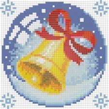 """Картина стразами (набор) """"Новогодний шарик с колокольчиком"""". Размер - 15 х 15 см."""