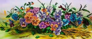 Картины бисером   Анютины глазки. Размер - 55 х 24 см.