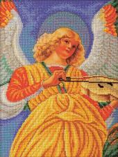 "Радуга бисера (Кроше) | Ангел ""Музицирующий ангел. Секондо"". Размер - 26 х 35 см."