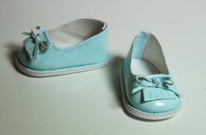 Туфли лаковые для кукол,голубые