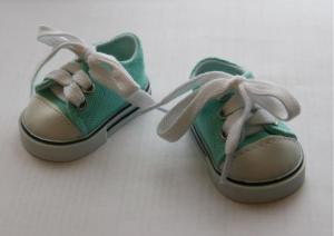 Кеды со шнурками для кукол,бирюзовые