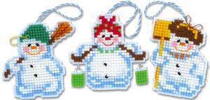 """Набор для вышивания крестом """"Новогодние игрушки """"Снеговички"""""""""""