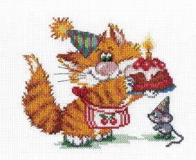 Рыжий кот.День рождения. Размер - 20 х 15 см.