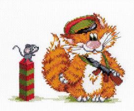 Рыжий кот.Пограничник. Размер - 20 х 15 см.