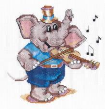 МП Студия | Слоник-скрипач. Размер - 20 х 20 см