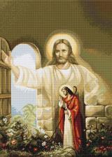 """Набор для вышивания крестом Luca-S """"Иисус стучащийся в дверь"""". Размер - 31 х 42,5 см."""