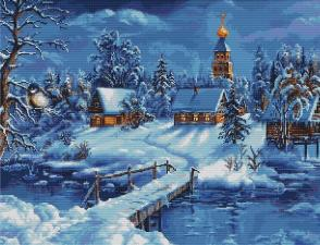 """Набор для вышивания крестом Luca-S """"Зимний пейзаж"""". Размер - 45 х 34 см."""