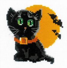 """Набор для вышивания для начинающих """"Чёрный кот"""". Размер - 15 х 15 см."""