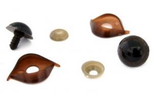 Глазки с фиксатором, веко двустороннее №13 арт.КЛ.23458 цв.коричневый 20х20 мм уп.2шт