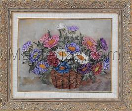 Хризантемы в корзине. Размер - 28 х 20 см.
