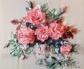 Шёлковый сад | Розы пастель. Размер - 35 х 28 см