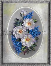 Шёлковый сад | Белые розы и фиалки. Размер - 28 х 41 см