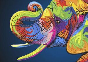 Поп-арт Слон. Размер - 42 х 30 см.