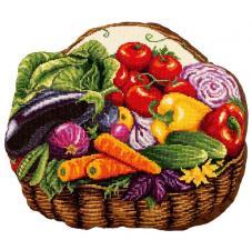 """Подушка """"Овощная корзинка"""". Размер - 40,5 х 35 см."""