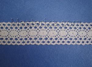 Кружевная тесьма, артикул 1612, ширина 34 мм, цвет белый